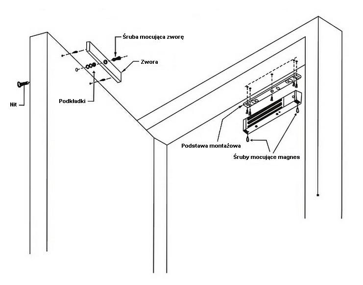 Przykładowy montaż zwory elektromagnetycznej HC150G
