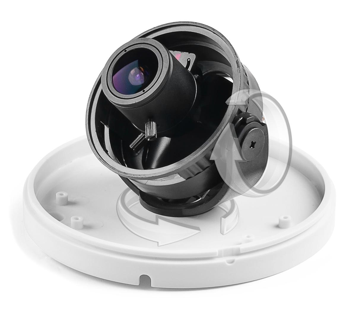Położenie kamery BCS-DP472 może być regulowane we wszystkich płaszczyznach