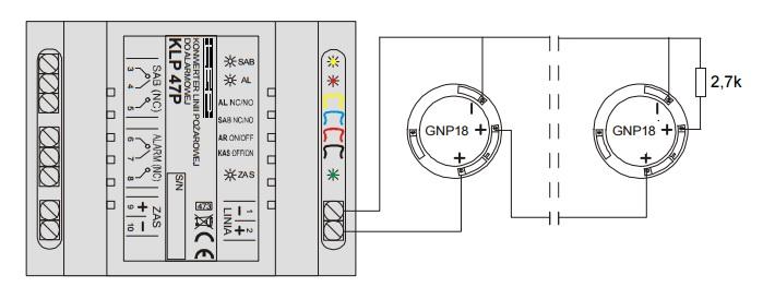 Przykład podłączenia czujek do konwertera KLP47P