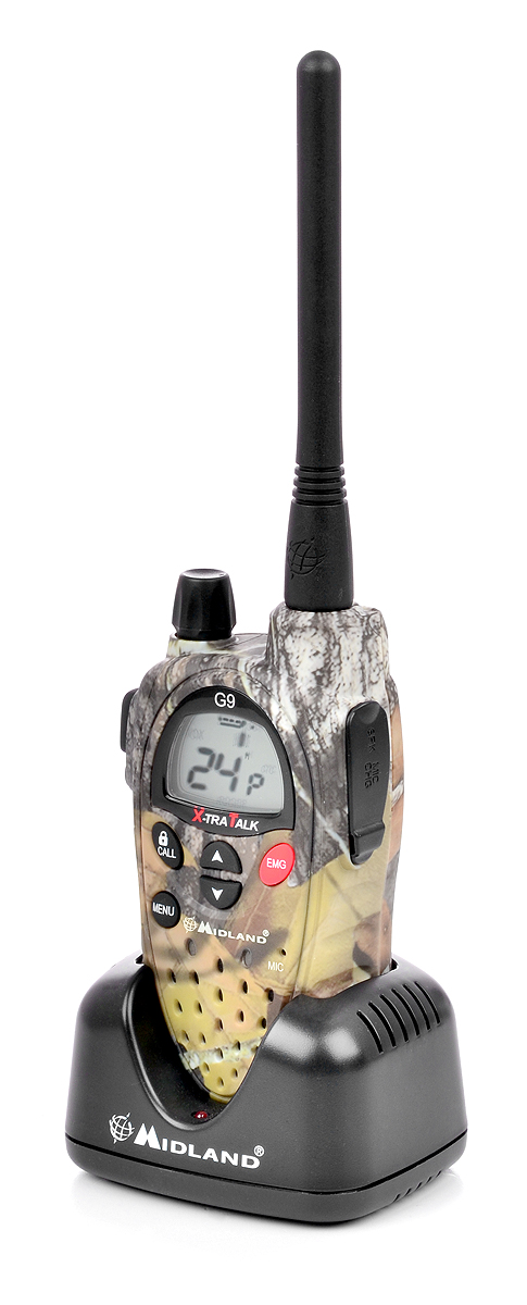 Radiotelefon Midland G9 Military umieszczony w podkładce ładującej