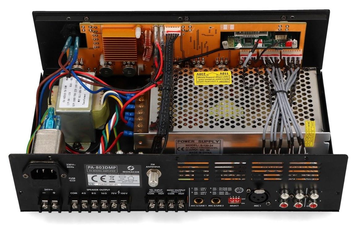 wnętrze wzmacniacza PA-803DMP