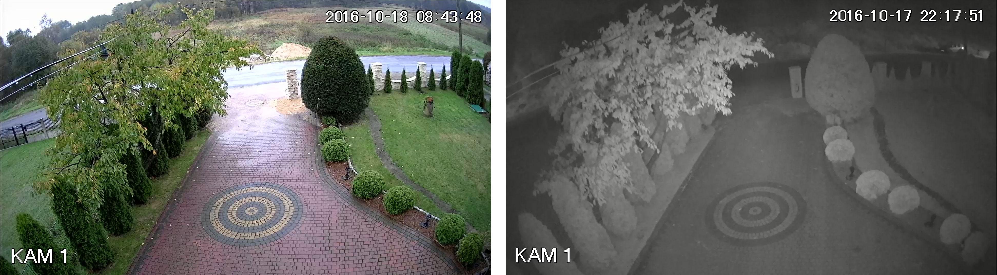 Podgląd obrazu z kamery PIXIR w trybie dziennym i nocnym