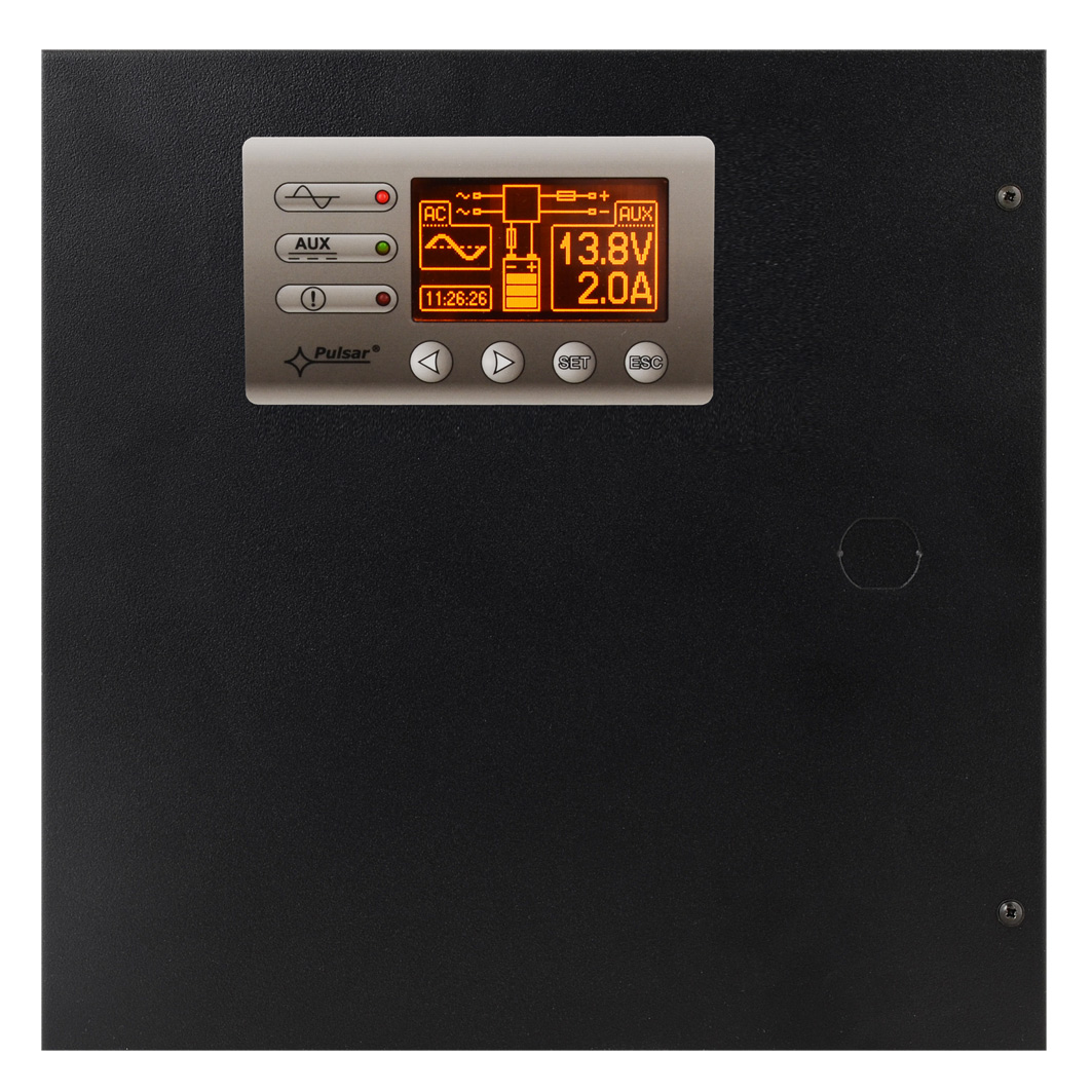 Panel LCD umieszczony na przedniej części obudowy zasilacz PSBEN2012B-LCD