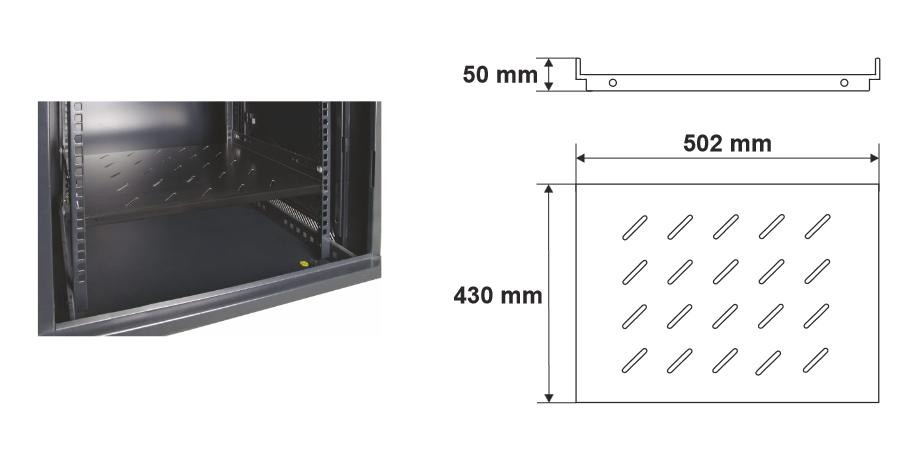 Wymiary i przykład zamocowania półki RAPS450W