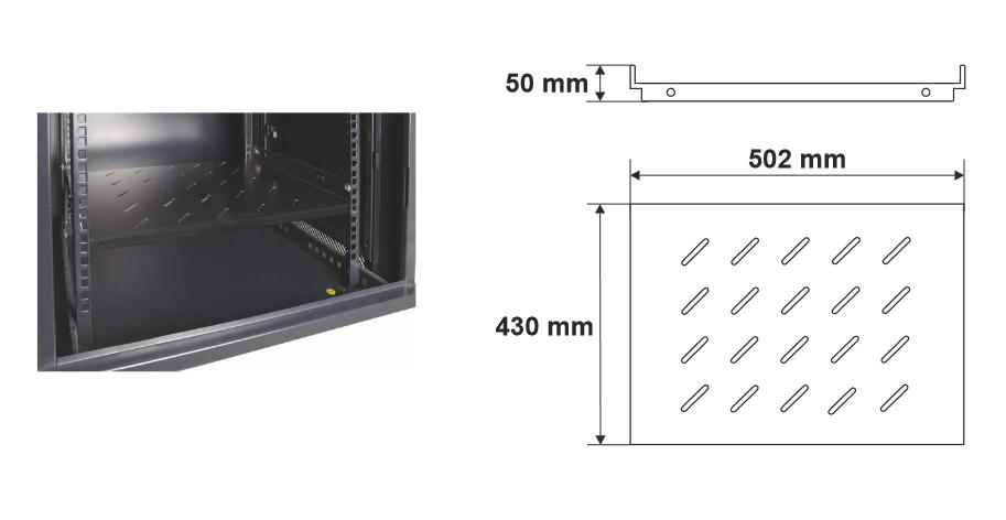 Wymiary i przykład zamocowania półki RAPS600A