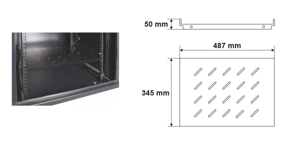 Wymiary i przykład zamocowania półki RAPS600D