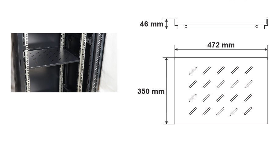 Wymiary i przykład zamocowania pułki RAPS600S