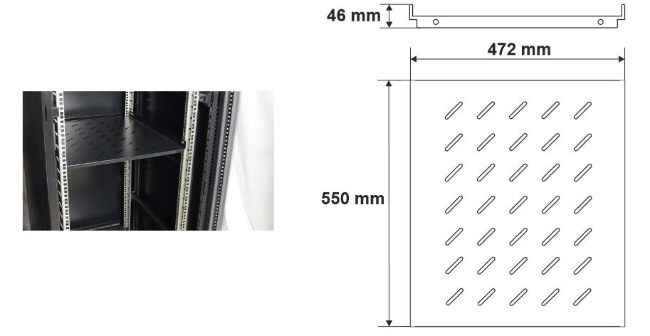 Wymiary i przykład zamocowania półki RAPS800S