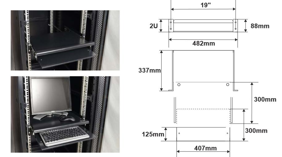 Wymiary i przykład zamocowania półki RAPW-K