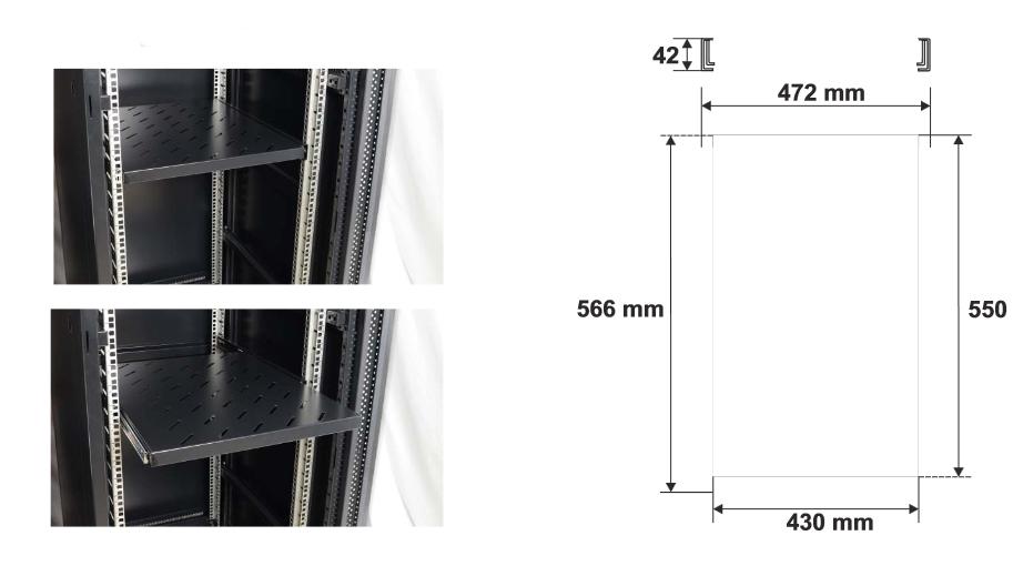 Wymiary i przykład zamocowania półki RAPW800