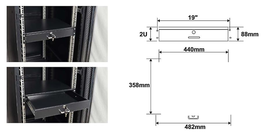 Wymiary i przykład zamocowania szuflady RASR2