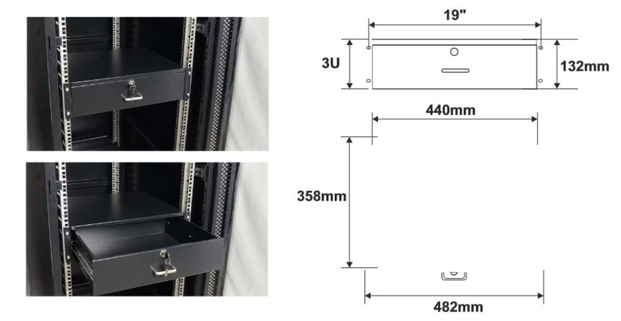 Wymiary i przykład zamocowania szuflady RASR3