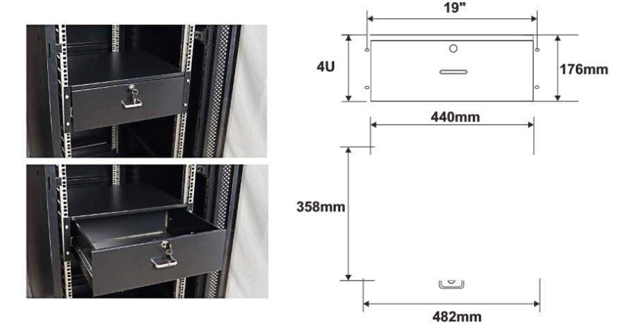 Wymiary i przykład zamocowania szuflady RASR4