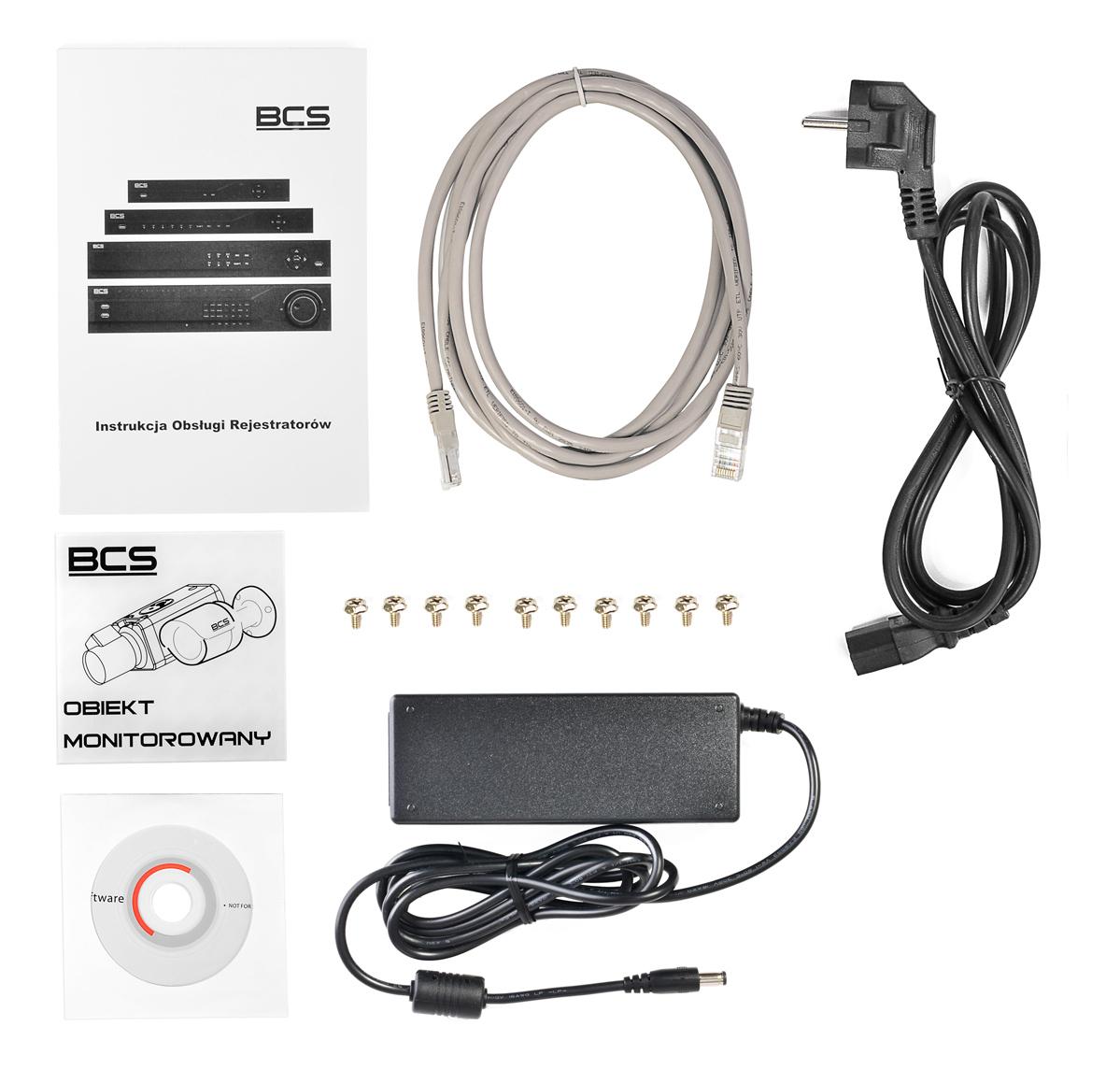 Akcesoria wchodzące w skład zestawu BCS-NVR08015ME-P