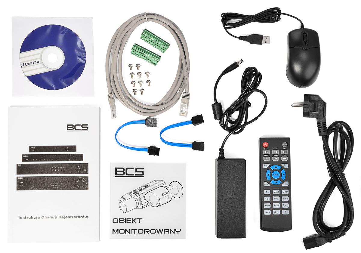 Akcesoria wchodzące w skład zestawu BCS-NVR08025ME