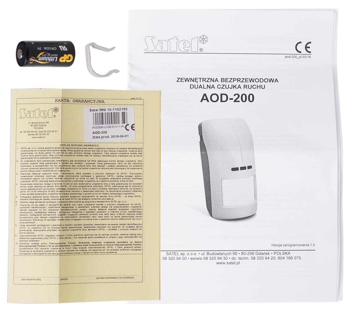 Akcesoria czujki ruchu AOD-200 GY