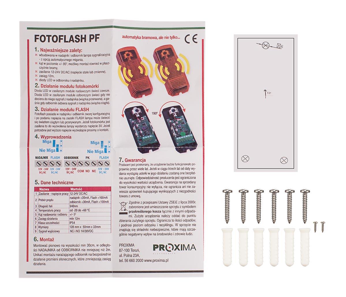 Akcesoria zestawu fotokomórek FOTOFLASH PF