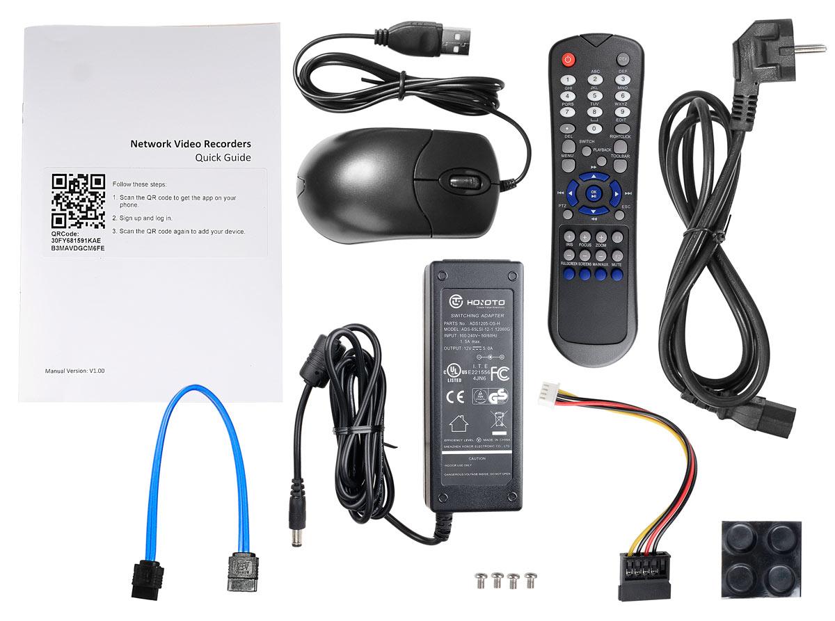 Akcesoria wchodzące w skład rejestratora BCS-PNVR0401-4P