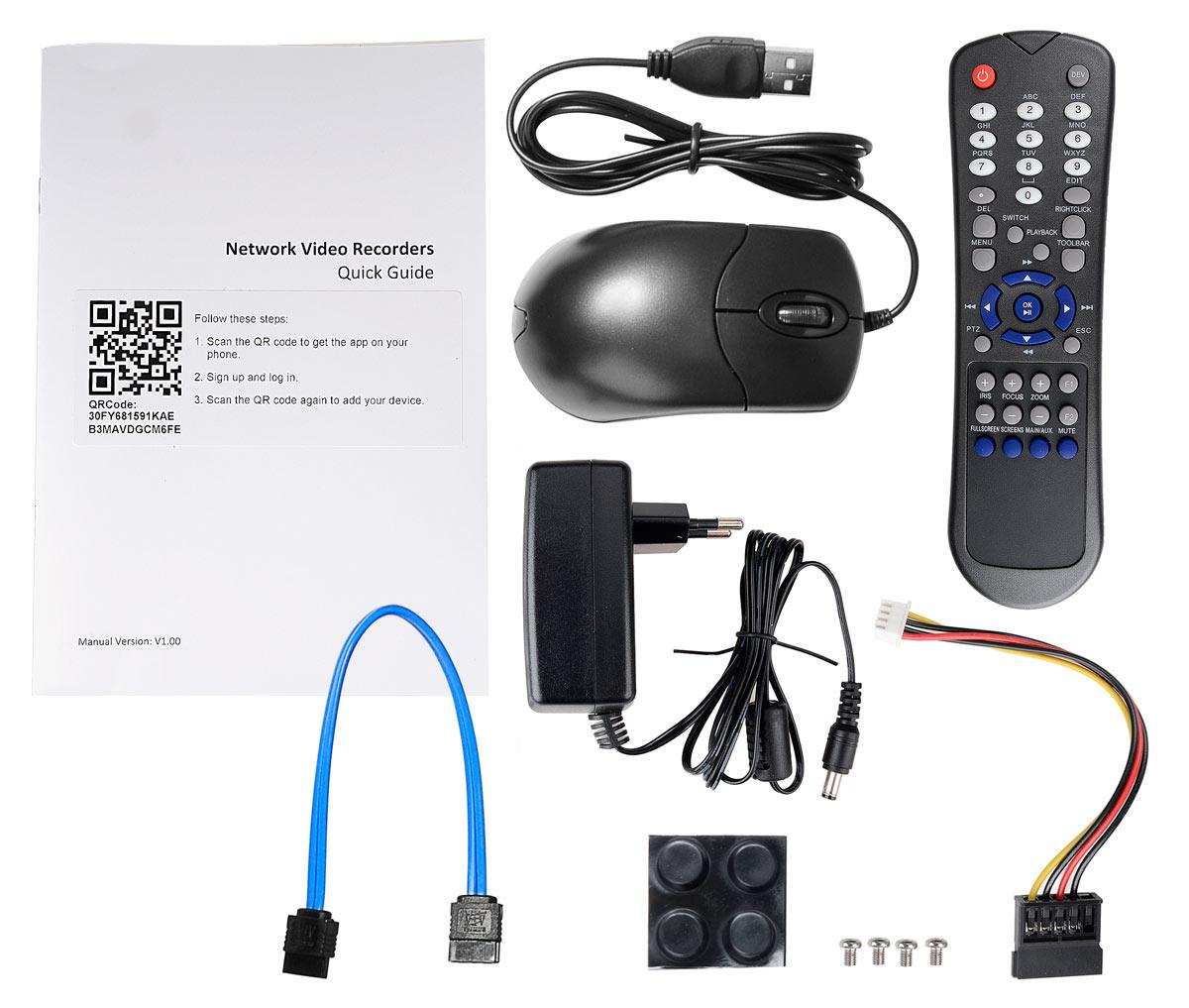 Akcesoria wchodzące w skład zestawu BCS-PNVR0801
