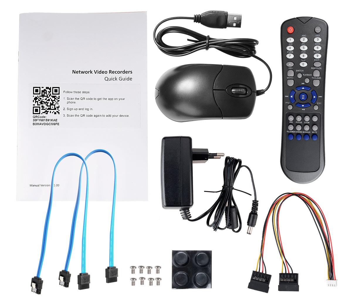 Akcesoria wchodzące w skład rejestratora BCS-PNVR0802
