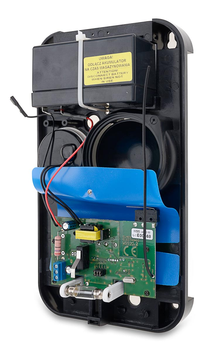Akumulator umieszczony we wnętrzu sygnalizatora WSS