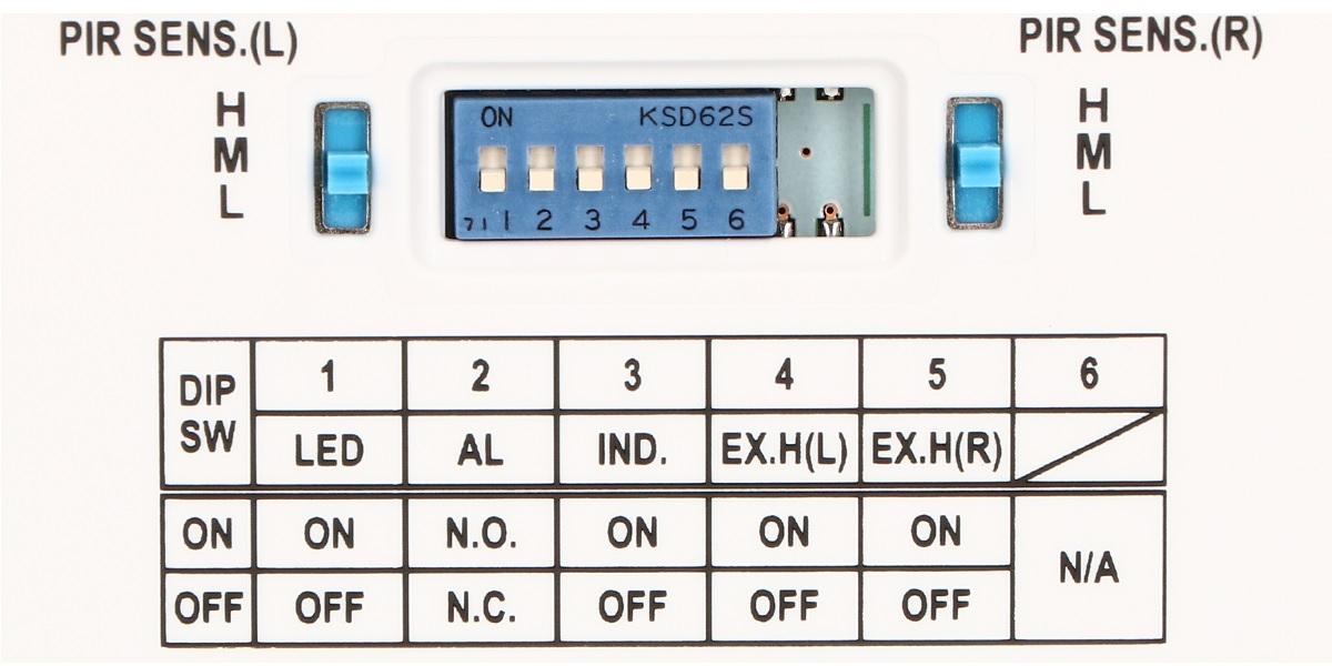 Zestaw DIP-switchy do regulacji czułości i zmiany parametrów pracy