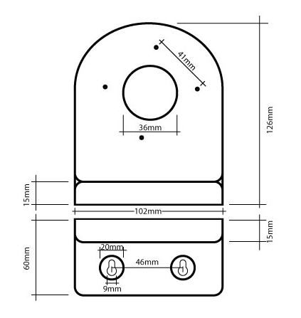Wymiary uchwytu GL225