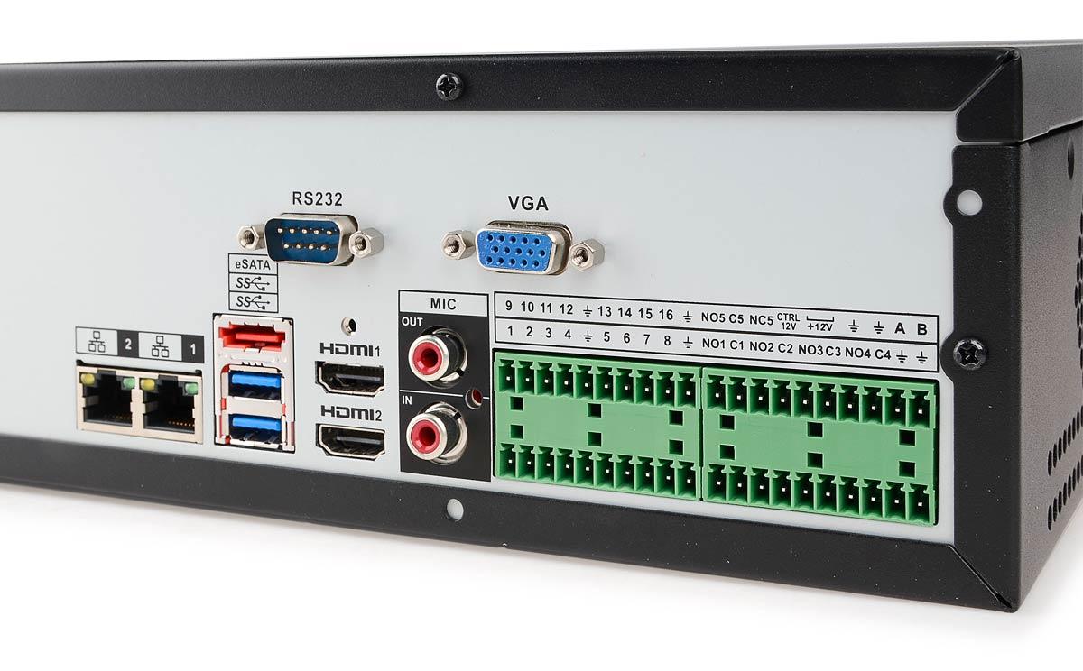 Wejścia/wyjścia rejestratora BCS-NVR1608-4K