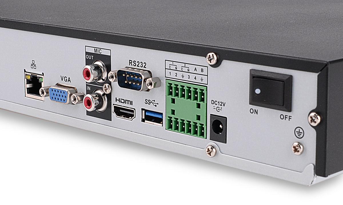 Wejścia / wyjścia rejestratora BCS-NVR3202-4K-II