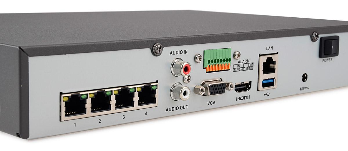 Wejścia / wyjścia rejestratora DS-7604NI-E1/4P/A