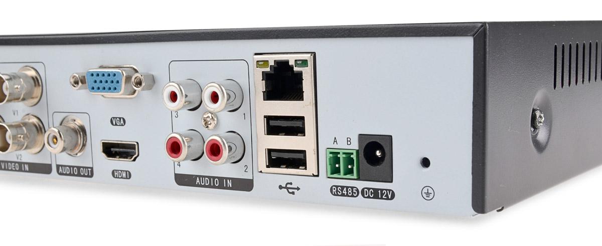 Wyjścia wideo, wejścia audio, RS-485 oraz porty USB i RJ-45 w rejestratorze VAHR-04MA
