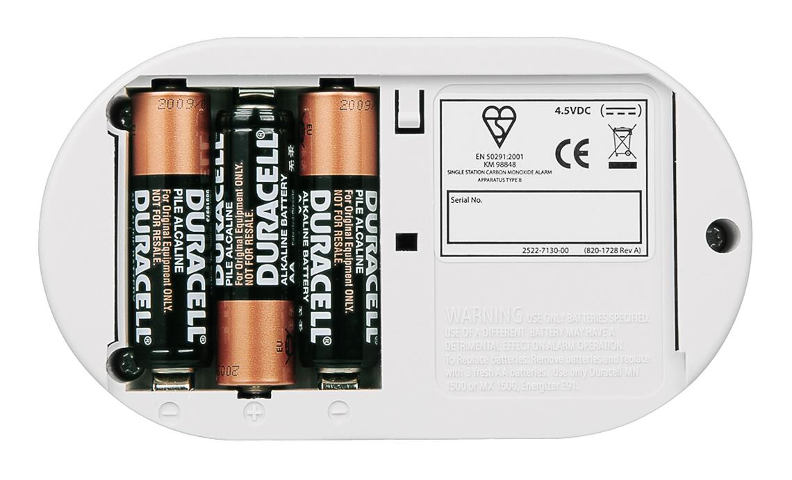 Zasilanie czujki 5DCO można zrealizować przy pomocy baterii