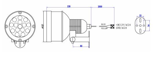 Wymiary oświetlacza LIR-IC88