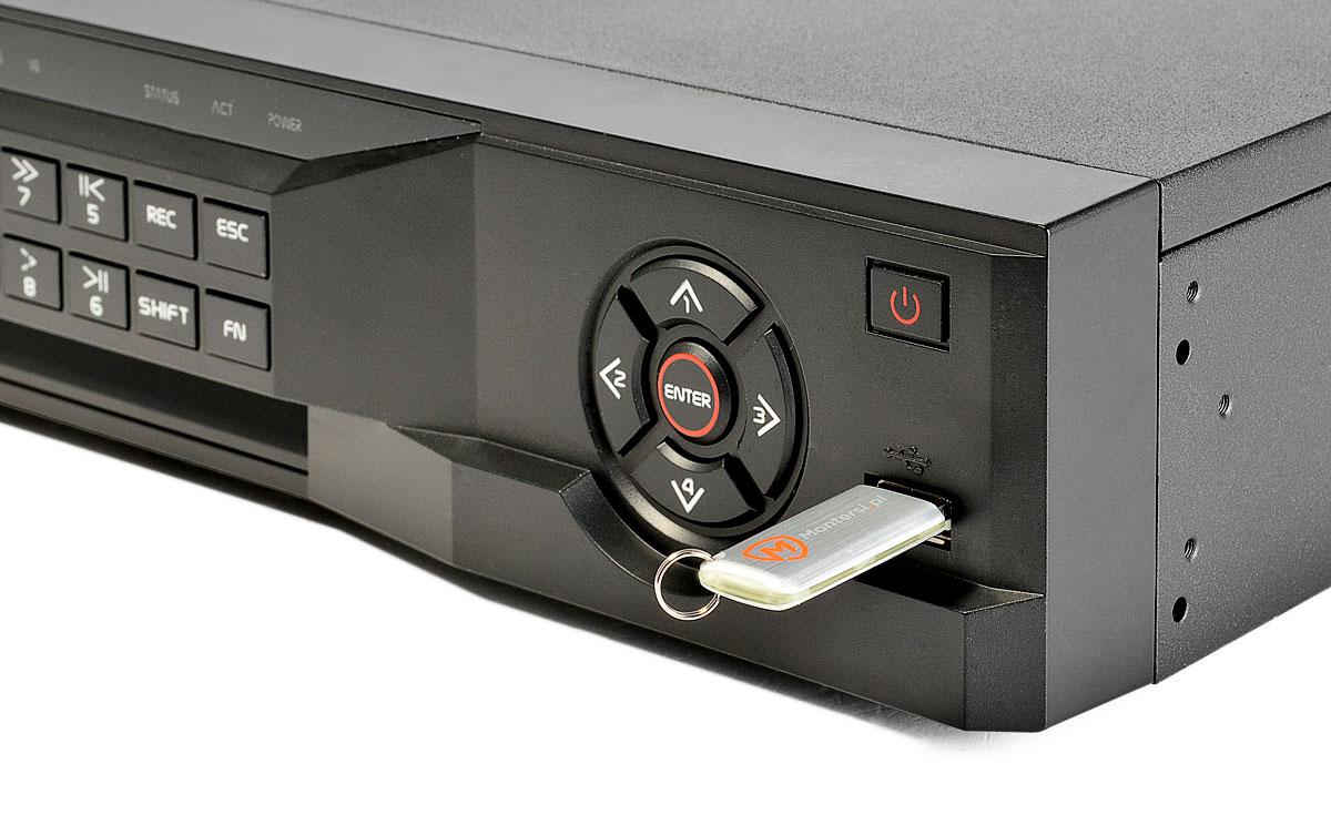 Port USB umieszczony na przednim panelu rejestratora BCS-NVR3204-4K-II