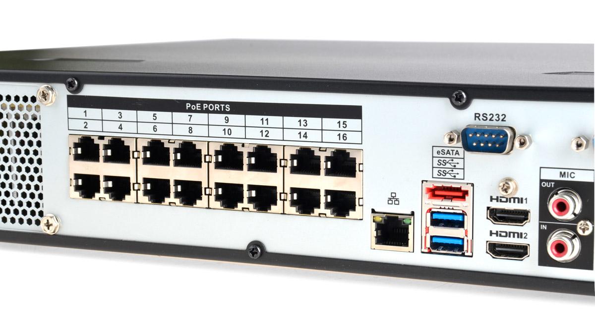 16-portowy switch PoE 802.3af w rejestratorze BCS-NVR1604-4K-P