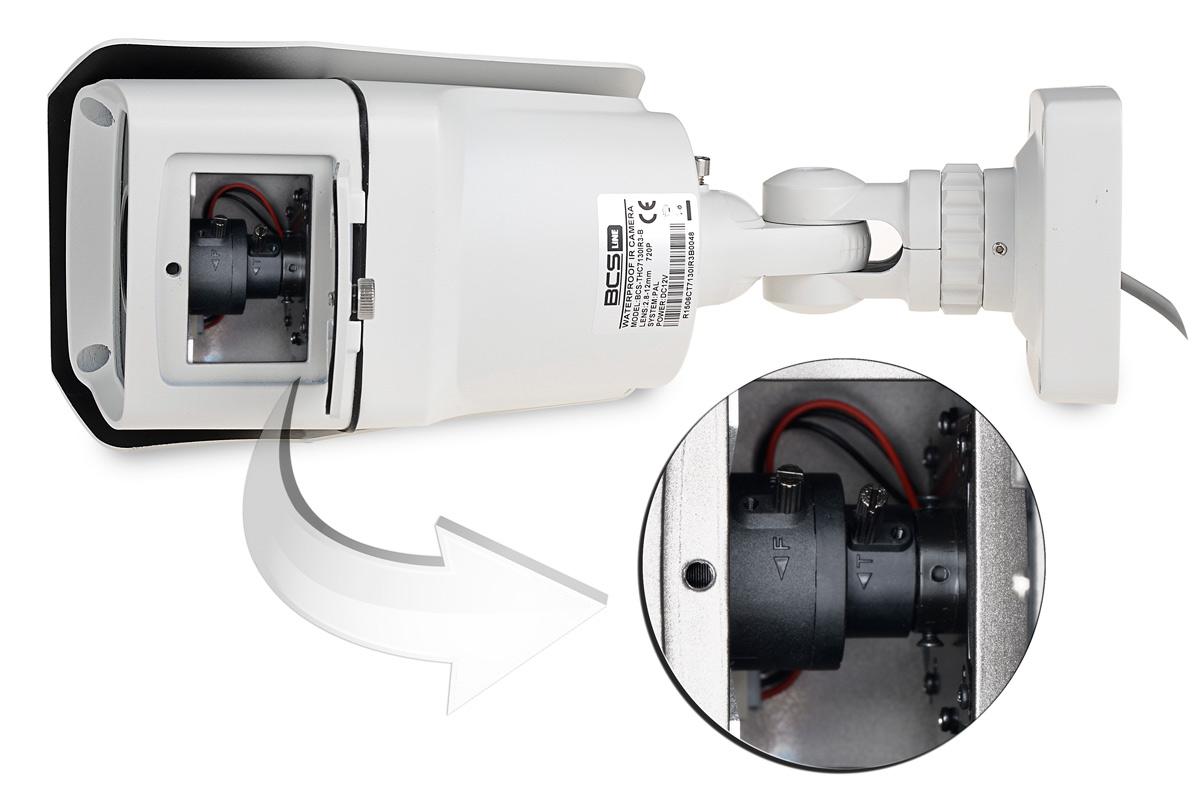 Miejsce regulacji obiektywu w kamerze BCS-THC7200IR3-B