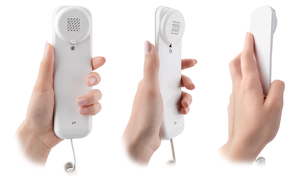 Ergonomiczny kształt słuchawki sprawia, że leży ona pewnie w dłoni