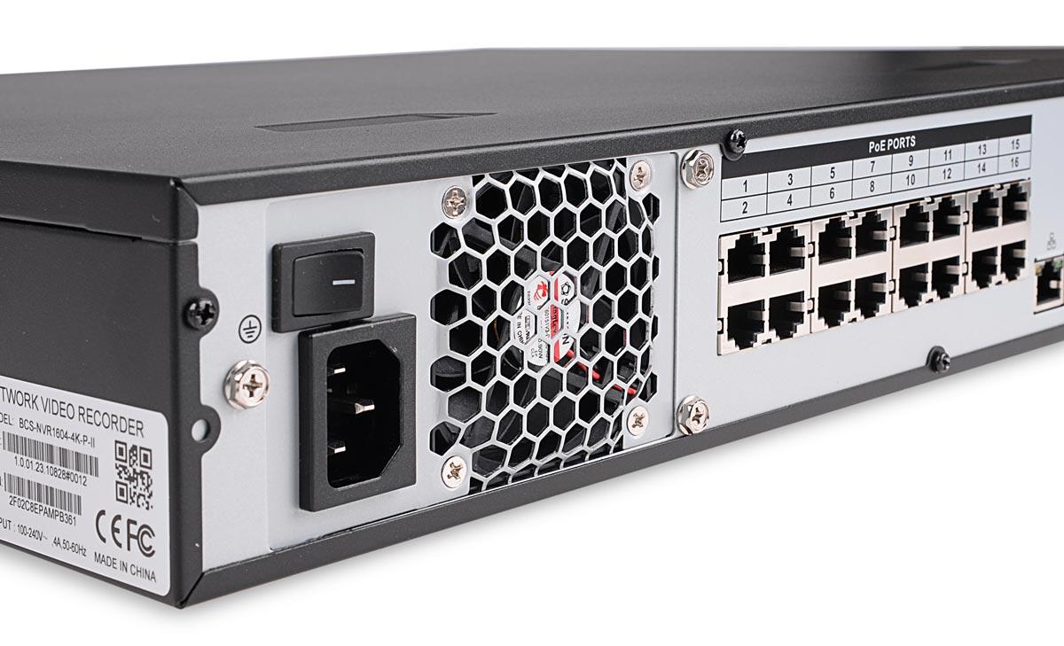 Wbudowany switch PoE rejestratora BCS-NVR1604-4K-P-II