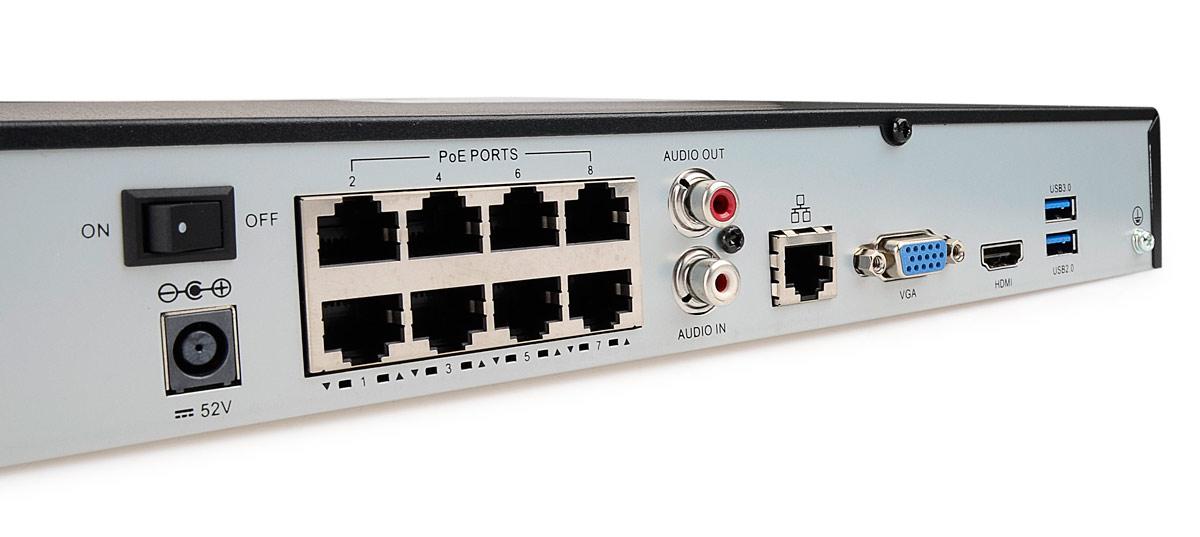 8-portowy switch PoE rejestratora BCS-PNVR0802-8P