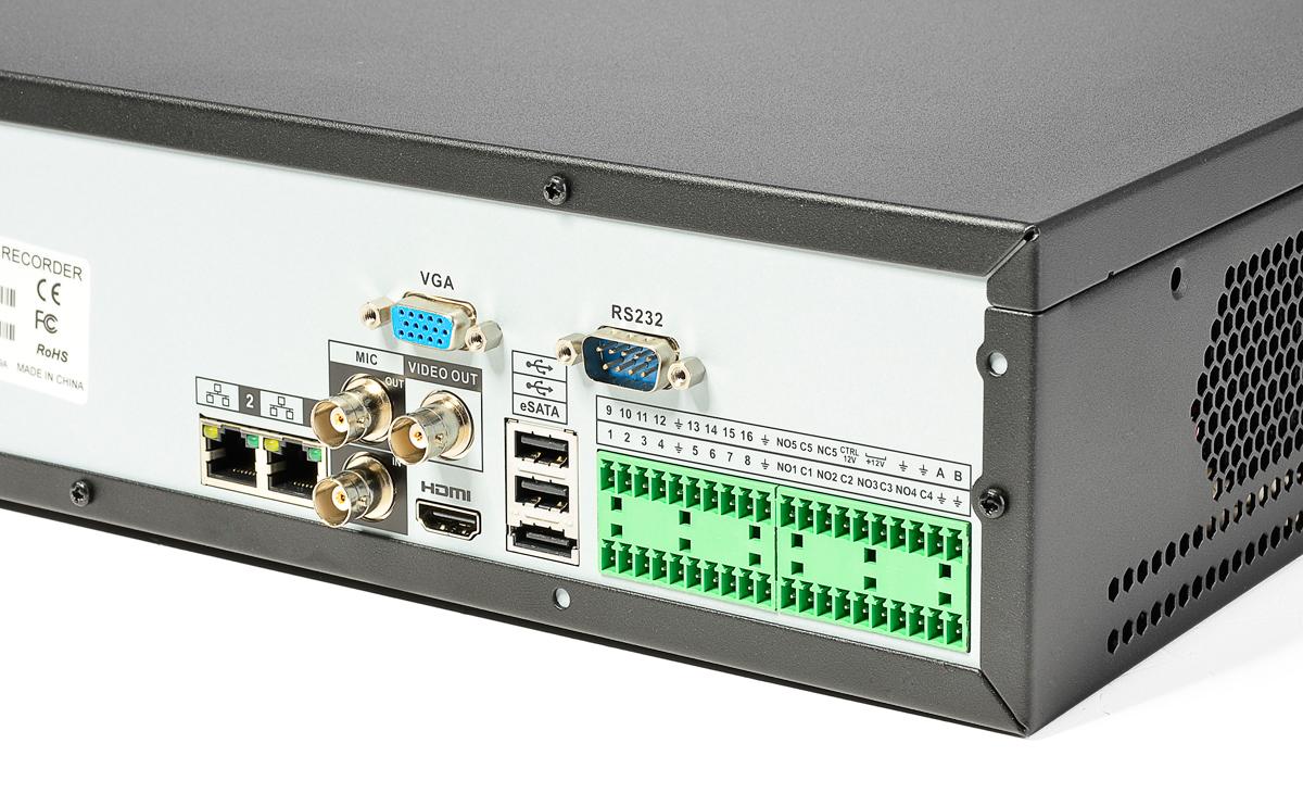 Gniazda umieszczone z tyłu rejestratora BCS-NVR08045ME