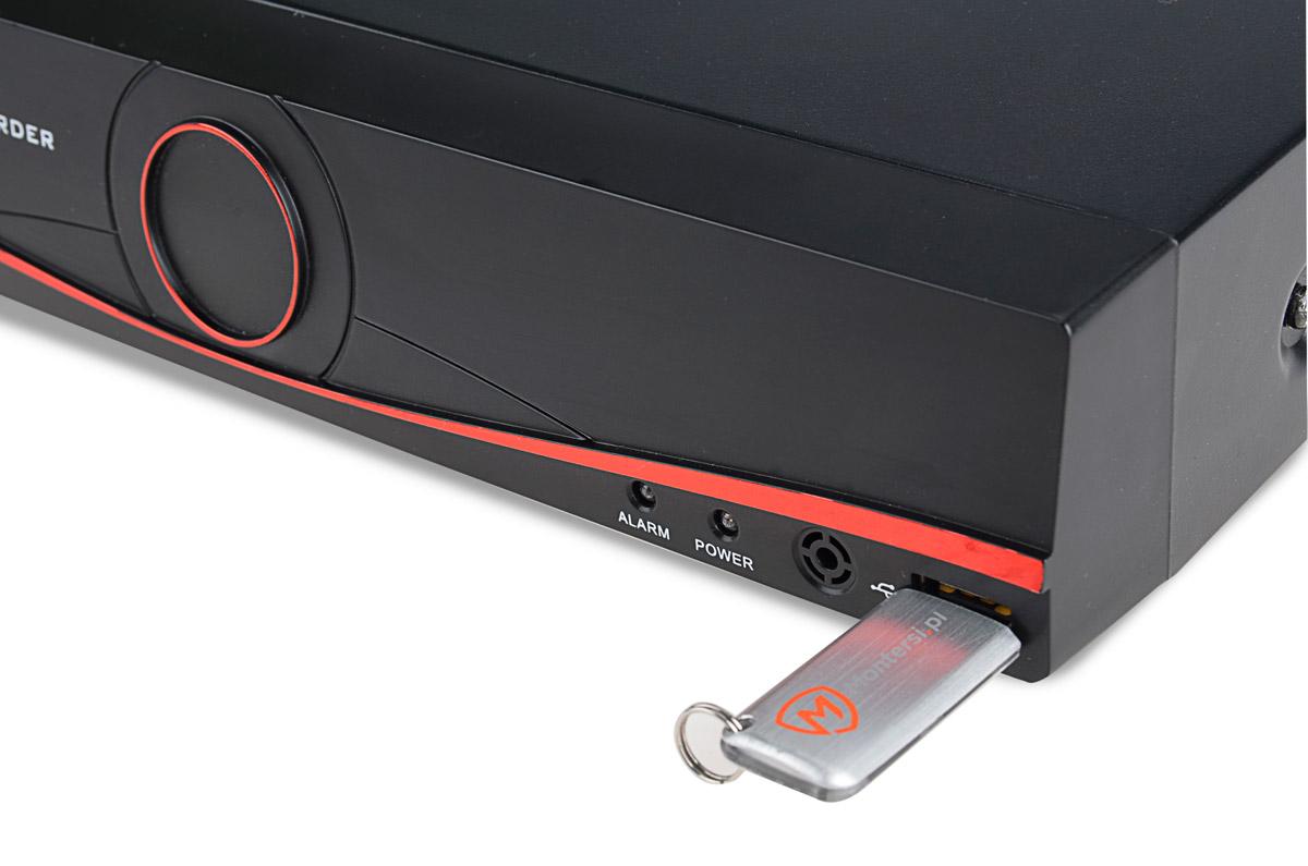 Port USB umieszczony na przodzie rejestratora VAHR-08MA