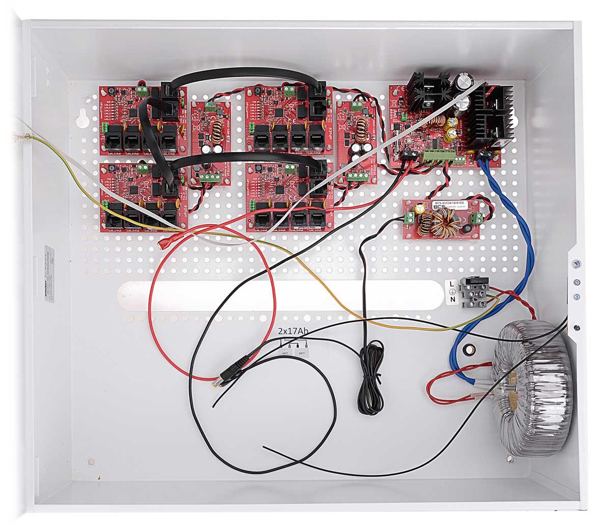 Wnętrze zasilacza BCS-UPS/IP16/S