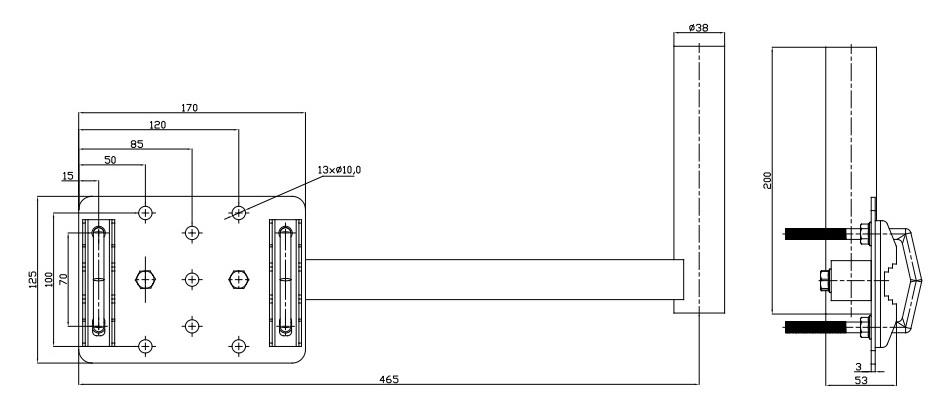 Wymiary uchwytu balkonowego UBU 38/450