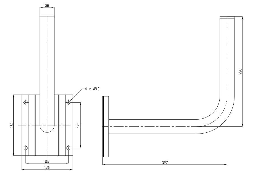 Wymiary uchwytu WG-5 30cm