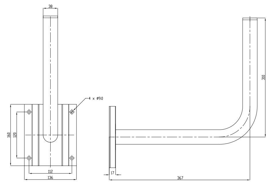 Wymiary uchwytu WG-5 40cm