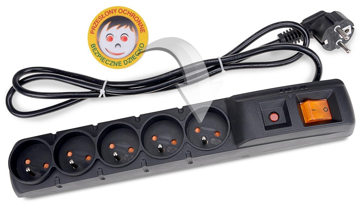 Zabezpieczenie listwy ACAR F5 chroniące dzieci przed porażeniem prądem