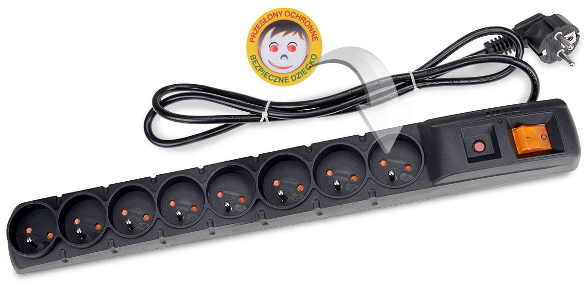 Zabezpieczenie listwy ACAR S8 FA RACK chroniące dzieci przed porażeniem prądem