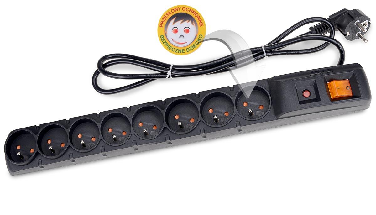 Zabezpieczenie listwy ACAR S8 chroniące dzieci przed porażeniem prądem