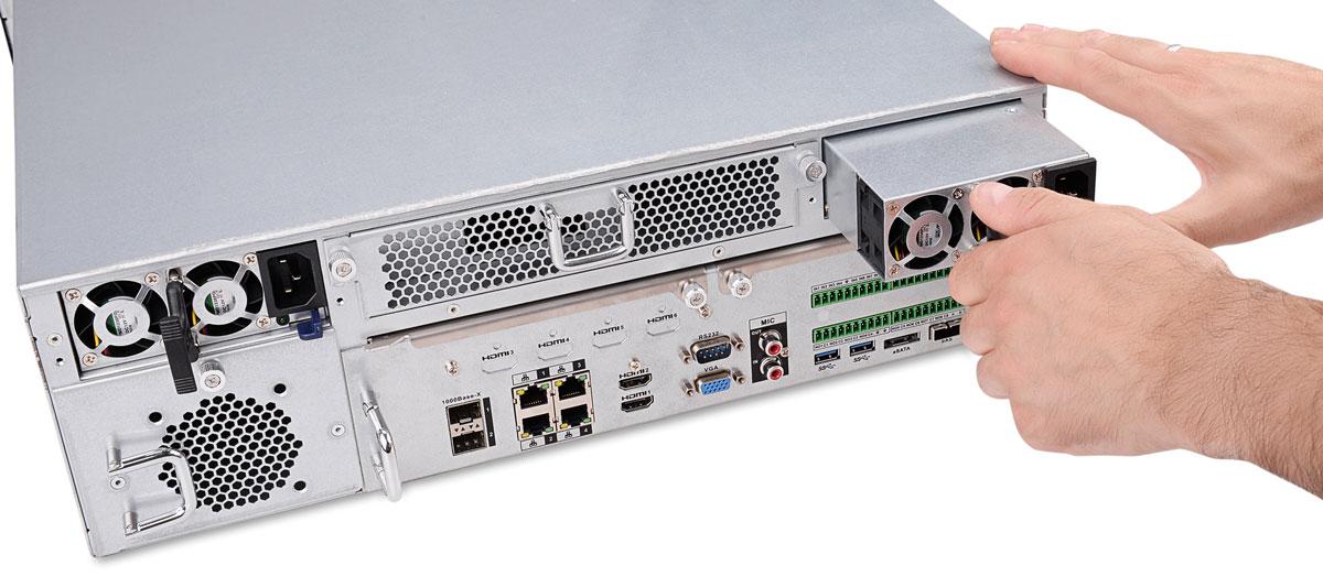 Wyciągany zasilacz w rejestratorze BCS-NVR6416DR-4K