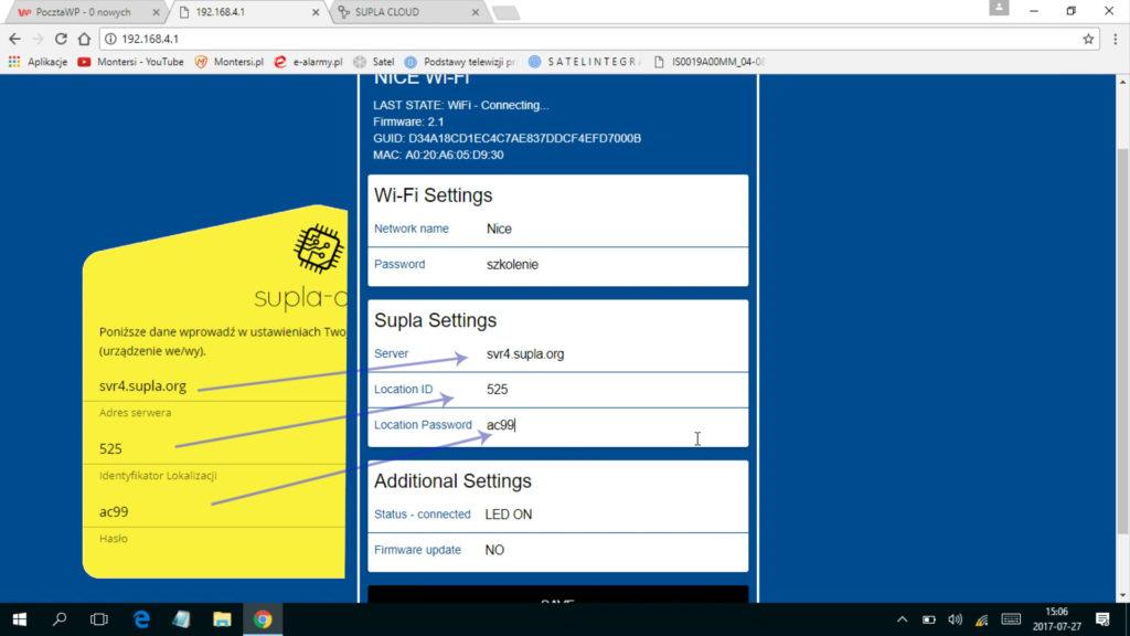 dane dostępowe do serwera SUPLA znajdują się w żółtym formularzu